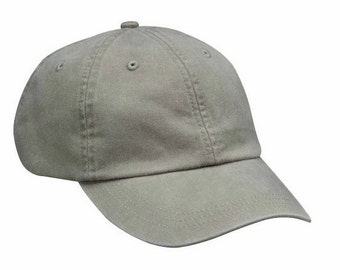 Monogrammed Cap Preppy Baseball Cap Pigment Dyed Stone Gray