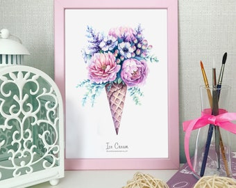 Ice Cream Digital Art, Flowers Poster, Instant Download, Digital Clipart