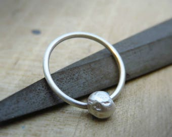 rough silver septum ring - sterling silver septum ring 16g - Tribal Septum Ring, Septum Piercing
