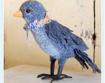 soft sculpture bird, songbird, blackbird, junco, OOAK, soft sculpture, bird, art, upcycled textile