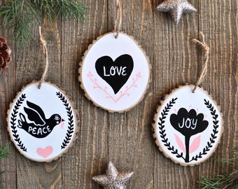 Mother's Day Gift Ideas, Rustic Christmas Ornaments, Gifts for Mom, Modern Christmas Ornament, Christmas Gift for Her, Minimalist Home Decor