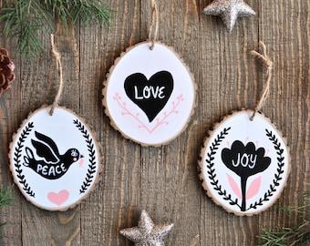 Rustic Christmas Ornament Set, Modern Christmas Ornament, Black and White Christmas, Peace Love Joy, Christmas Tree Decoration, Gift for Mom
