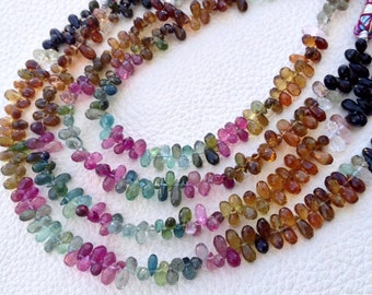 WOW, Superb, VERY Rare Natural Multi TOURMALINE Faceted Drops Shape Briolettes,Full 8 Inch Strand, 5-6mm Size,Great Quality
