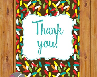 "Sprinkles Thank You Card Ice cream party Flat Card Print Your Own All Occasion 4""x6"" Digital Instant Download (ty-172)"