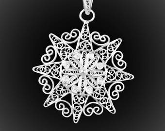 Shining Sun pendant with silver embroidery
