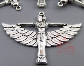 2 Egyptian Goddess Isis Pendants 56mm Wholesale Antiqued Silver Plated Egypt Pendants SC0034322