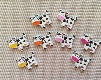 Cow Buttons 8 Wooden Buttons for Sewing Crochet Knitting Scrapbooking Buttons for Baby