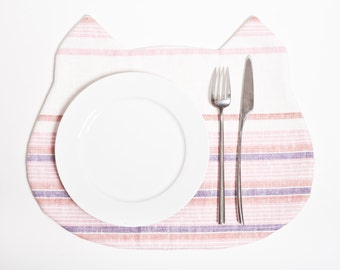 Pink Linen Placemat, Cute Cat, placemats for kids, kitchen decor, housewarming gifts for new home