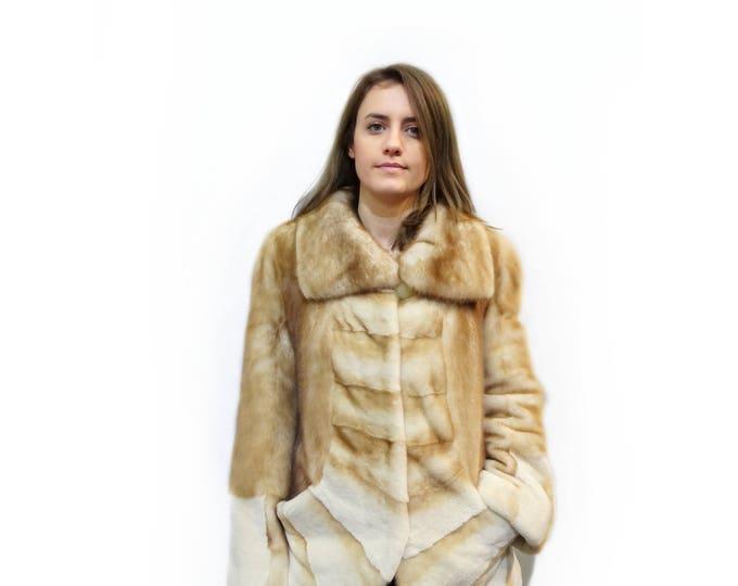 Gold Fur Jacket,Sheared Mink Fur Jacket,Special Mom's Gift F351