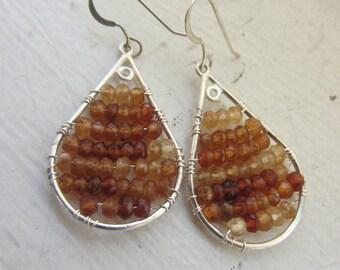 January Birthday Gift, Garnet Earrings, January Birthstone, Sterling Silver Earrings, January Gift,  Capicorn,
