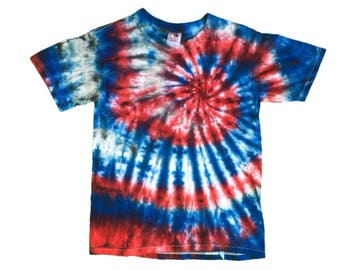 Kid Large - Fruit of the Loom T Shirt - Red, White and Blue - Spiral