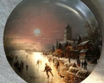 """Furstenberg China Decorative Plate """"Eisläufer in der Abendsonne"""" (Ice Skaters in the Evening Sun) by von Ludwig Muninger"""