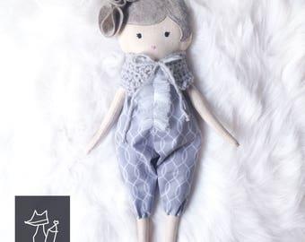 cloth doll girl, heirloom doll, ooak girl doll, rag doll with bloomers, stuffed doll girl, textile doll girl, artdoll girl, designed doll
