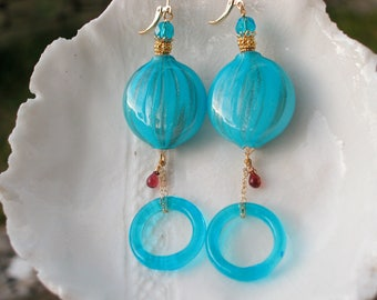 Murano Long Blue Blown Glass Earrings