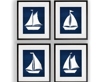 Set or 4 Sailboats Watercolor Navy and White 8x10, 11x14, 13x19