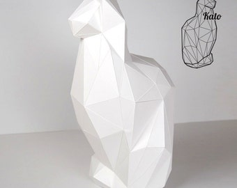 Kato - Feline Cat Print & fold papercraft kit printable low poly object - direct download