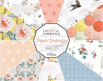 Digital Paper Pack 'Paper Umbrellas' Scrapbook Papers for Scrapbooking, Invitations, Stickers, Crafts, Decoupage, Cards...