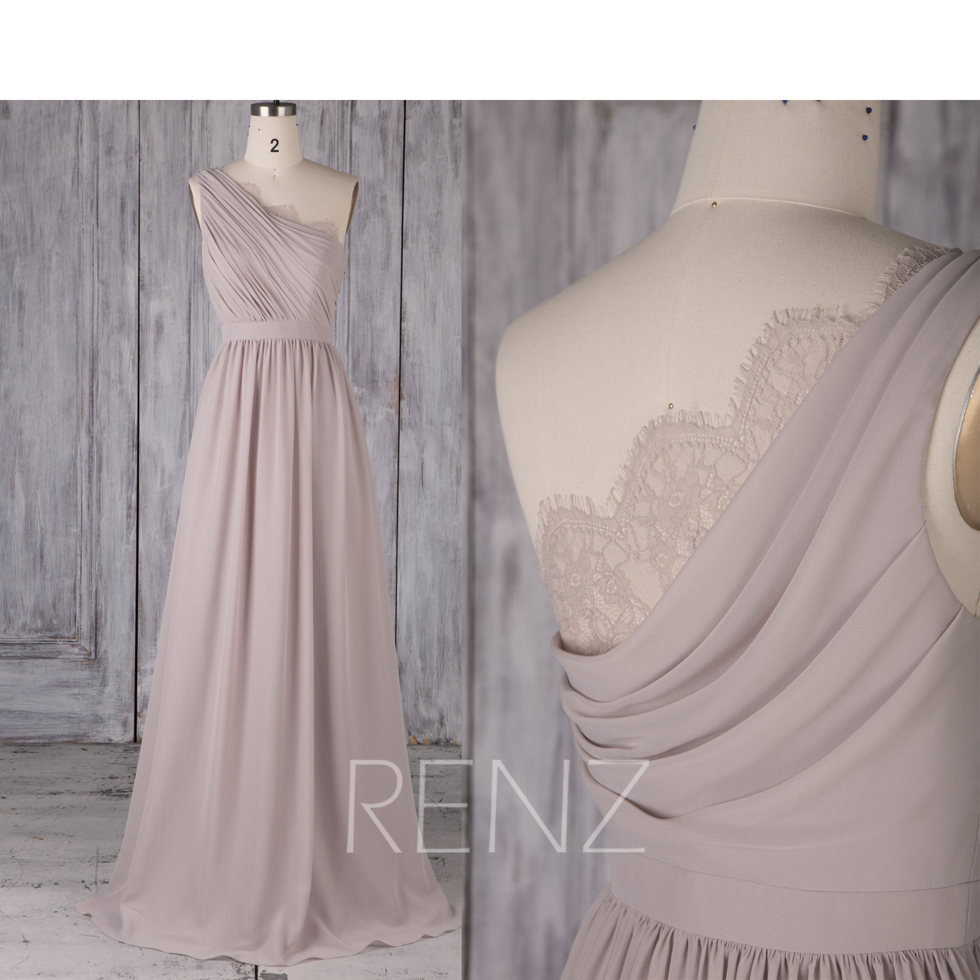 Bridesmaid Dress Taupe Chiffon DressWedding DressOne