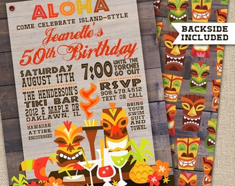 Luau Party Invitation, Luau Birthday Invitation, Hawaiian Tiki Invitation, Hawaiian Luau Invitation, , Hawaiian Invitations, PRINTABLE