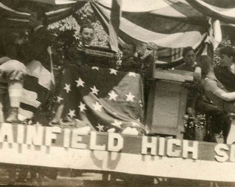 vintage photo 1920 Plainfield High School Float 4th July Teenage Boys Flag Draped Snapshot
