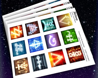 Alchemy -50mm (2inch) Squares - 4 sheet SET-Arcane Magic Symbols-Instant Download-Collage Sheets-Stickers Jewelry Scrapbooking Arts & Crafts