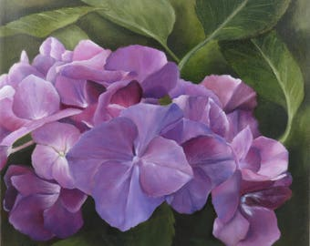 Original Oil Painting Purple and Blue Garden Hydrangea Flower Green Leaves and Background Florals For Her