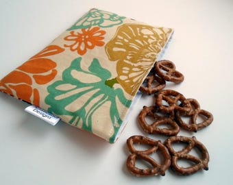 Reusable Snack & Sandwich Bag --Abstract Flower Print, Eco-Friendly