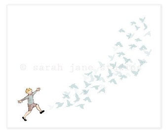 Children's Wall Art Print - Fly Away - Boy Kids Nursery Room Decor