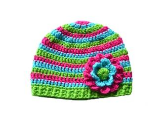 Bright Stripes Crochet Flower Hat, Girls Stripes, Kids Hat, Crochet Baby Hat, Crochet Kids Hat, Knit Toddler Hat, Knit Infant Girls Hat