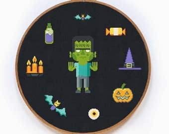 Zombie Cross Stitch Pattern, Halloween Cross Stitch Pattern, Modern Free Cross Stitch Pattern, PDF Format, Instant Download