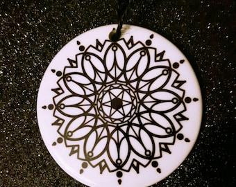 Color me Mandala Christmas ornament , gift, stocking stuffers ceramic