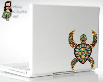Sea Turtle Vinyl Decal Sticker - Laser Cut - Original Art Car Decal Colorful Bumper Sticker Laptop Decal