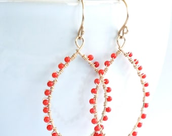handmade 14K gold filled wire wrapped genuine red coral earrings