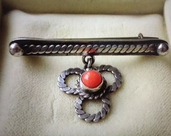 Antique Victorian Coral Silver Brooch