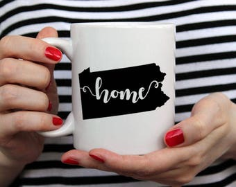 Pennsylvania Home - 14 oz CERAMIC MUG - girlfriend gift, mom gift, sister gift, wife gift, friend gift