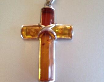 Baltic Amber Cross Pendant Sterling Silver