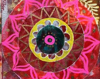 "Original Mixed Media Mandala on canvas 8 - 4""x4"""