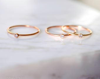 Thin Rose Gold Ring with CZ, 14kt Rose Gold Filled Ring, Stackable Rose Gold Rings, Stacking Ring, Rose Gold Midi Ring