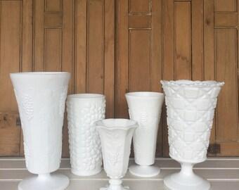 5 Vintage Milk Glass Vases, Centerpiece, Wedding Decor, Cottage Style, Rustic Decor, White