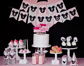 Minnie Mouse Birthday Party Package - Printable