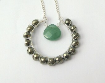 Pyrite and Aventurine Wire Wrapped Pendant Sterling Silver Necklace - 18 Inches