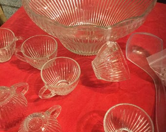 Striped glass flower punch bowl 14 piece set
