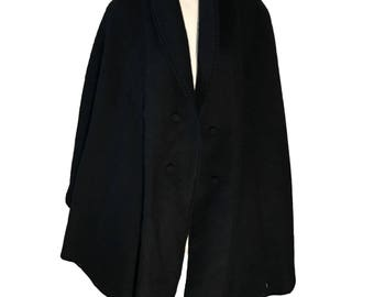 Mohair Alpaca Black Shawl Wrap Open Front Coat - One Size