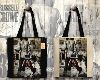 Basset Hound Art Tote Bag - 3 10 to Yuma Movie Poster   Perfect DOG LOVER Gift for Her Gift for Him