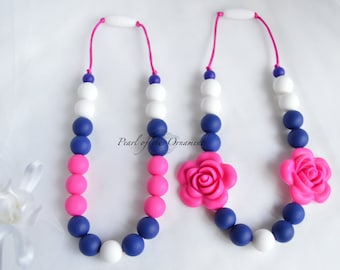 Navy Blue Hot Pink Teething necklace nursing necklace silicone necklace sensory necklace flower baby toddler girl mom chew teether chewelry