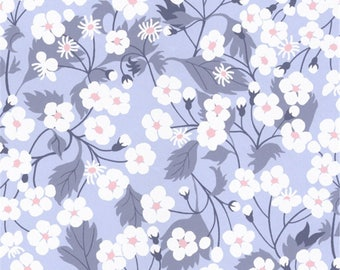 Printed fabric Liberty Mitsi Liberty color light blue pattern Bluebell