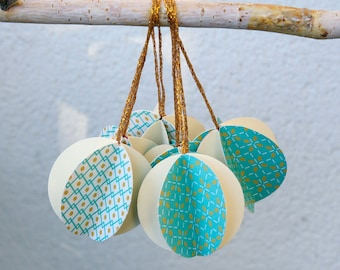 "Set of 10 christmas ornaments - turquoise and cream - 2"" diameter -"