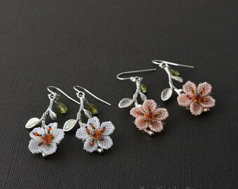 Cherry blossoms spring beadwoven earrings