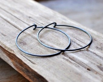 Large Oxidized Sterling Silver Hoop Earrings. Everyday Wear. Black. Grey. Gray. Oxidised. Eco.