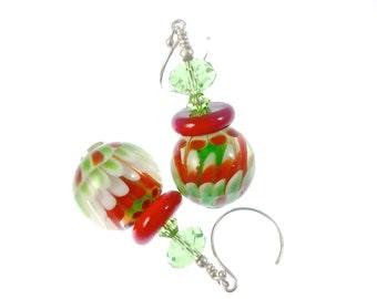 Floral Lampwork Earrings, Glass Bead Earrings, Red Green White Abstract Earrings, Glass Bead Jewelry, Lampwork Jewelry, Christmas Earrings